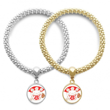 Cherry Blossoms Lucky Fortune Cat Japan Lover Bracelet Bangle Pendant Jewelry Couple Chain Gift