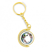 Carp Peony Lotus Pattern Geometry Metal Connector Key Chain Ring Accessory Golden Keyholder