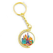 Castle Paris France Eiffel Tower Metal Connector Key Chain Ring Accessory Golden Keyholder