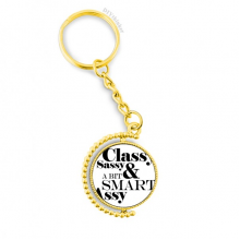 Classy Sassy & A Bit Smart Assy Quote Metal Connector Key Chain Ring Accessory Golden Keyholder