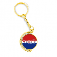 Croatia Country Flag Name Metal Connector Key Chain Ring Accessory Golden Keyholder