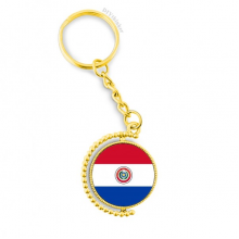 Paraguay National Flag South America Country Metal Connector Key Chain Ring Accessory Golden Keyholder