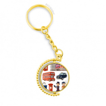Royal Soldiers Red Telephone Booth Britain Metal Connector Key Chain Ring Accessory Golden Keyholder