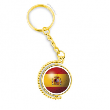 Spain National Flag Soccer Football Metal Connector Key Chain Ring Accessory Golden Keyholder