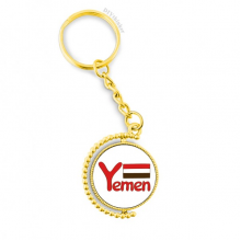 Yemen National Flag Red Pattern Metal Connector Key Chain Ring Accessory Golden Keyholder