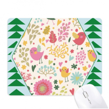 Bird Leaves Flower Plant Paint Mouse Pad Green Pine Tree Rubber Mat