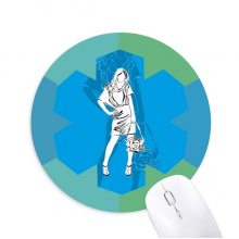 Blue Fashion Beautiful Woman Round Rubber Mat Blue Snowflake Office Mouse Pad