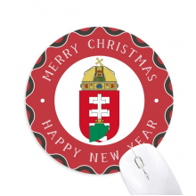 Hungary Europe National Emblem Mouse Pad Merry mas Round Rubber