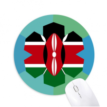 Kenya National Flag Africa Country Round Rubber Mat Blue Snowflake Office Mouse Pad