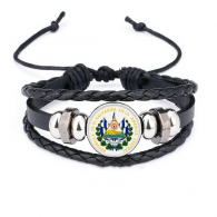 San Salvador El Salvador National Emblem Bracelet Braided Leather Rope Bead Wristband