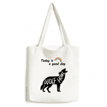 Black Wolf Animal Outline Natural Tote Canvas Bag Craft Washable Fashion Shopping Handbag