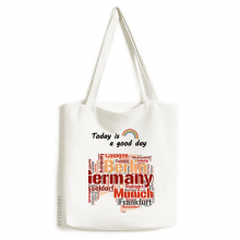 Germany City Name Map Style Pattern Tote Canvas Bag Craft Washable Fashion Shopping Handbag