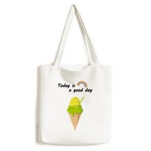 Green Matcha Ice Cream Cones Popsicles Tote Canvas Bag Craft Washable Fashion Shopping Handbag