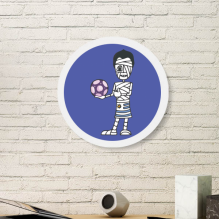 Uruguayan Soccer Player Cartoon Mummy Round White Wall Picture Frame Wooden Home Decor