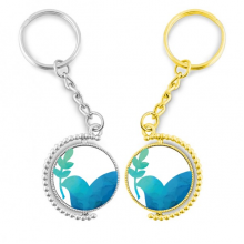 Blue Olive Branch Anti-war Pattern Rotating Rotating Key Chain Ring Accessory Couple Keyholder