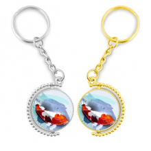 Japan Koi Fish Watercolor Style Rotating Rotating Key Chain Ring Accessory Couple Keyholder