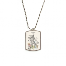 A Busy Street in Lijiang of China Stainless Steel Chain Dog Tag Pendant Pet Necklace
