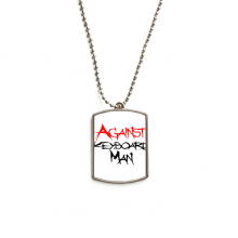 Against Keyboard Man Stainless Steel Chain Dog Tag Pendant Pet Necklace