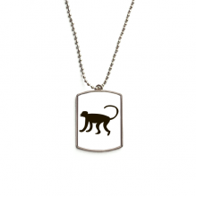 Black Monkey Animal Portrayal Stainless Steel Dog Tag Pendant Necklace