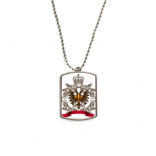 Double-headed Eagle Emblem Europe Stainless Steel Dog Tag Pendant Necklace