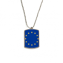 EU National Flag Europe Country Stainless Steel Chain Dog Tag Pendant Pet Necklace