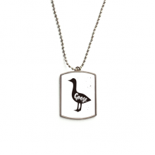 Goose Black And White Animal Stainless Steel Chain Dog Tag Pendant Pet Necklace