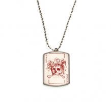 Joker Red  Crown Skeleton Poker Card Pattern Stainless Steel Chain Dog Tag Pendant Pet Necklace