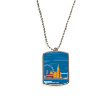 London Eye Double-Decker Buses Graffiti Stainless Steel Chain Dog Tag Pendant Pet Necklace