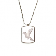 Origami Abstract Geometric Pigeon Pattern Stainless Steel Dog Tag Pendant Necklace