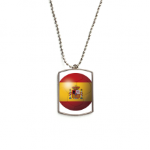 Spain National Flag Soccer Football Stainless Steel Dog Tag Pendant Necklace