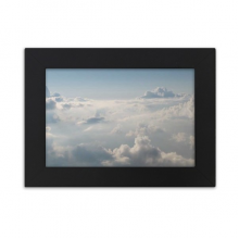 Grey Sky White Clouds Desktop Photo Frame Black Picture Art Painting 7x9 inch
