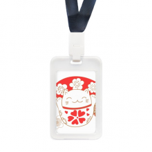 Cherry Blossoms Lucky Fortune Cat Japan Transparent Card Shell Holder Cace Sleeve Badge