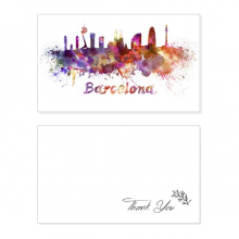 Barcelona Spain  City Watercolor Thank You Card Birthday Wedding Business Message Set