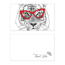 Glasses Tiger Handsome Animal Thank You Card Birthday Wedding Business Message Set
