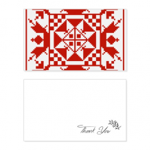 Mosaic Russia Style Red Texture Thank You Card Birthday Wedding Business Message Set