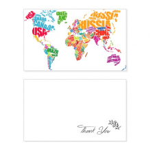 Mutlicolour World Map Countries Name Thank You Card Birthday Wedding Business Message Set