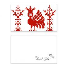 Red Mosaic Animal Trees Russia Thank You Card Birthday Wedding Business Message Set