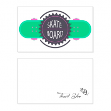 Sport Skateboard with Mottos Cartoon Watercolor Thank You Card Birthday Wedding Business Message Set