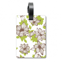 Light Brown Flower Plant Paint Suitcase Bag Tag Luggage Card Hanging Scutcheon Label