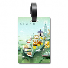 Travel Taiwan Food Attractions China Suitcase Bag Tag Luggage Card Hanging Scutcheon Label
