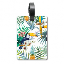 Watercolor Toucan Shrub Pineapple Parrot Cruise Suitcase Bag Tag Tourister Identification Label