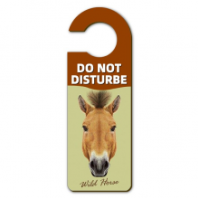 Brown Strong Wild Horse Animal Warning Message Room Disturbe Door Knob Hanger