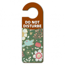 Dark Green Flower Plant Paint Warning Message Room Disturbe Door Knob Hanger