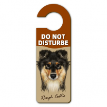 Long-haired Rough Collie Pet Animal Warning Message Room Disturbe Door Knob Hanger