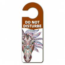 Mosaic Style Colorful Horse Design Warning Message Room Disturbe Door Knob Hanger