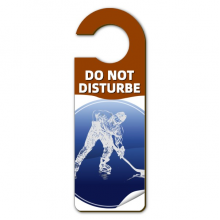 Winter Sport Skating and Ice Hockey Watercolor Warning Message Room Disturbe Door Knob Hanger