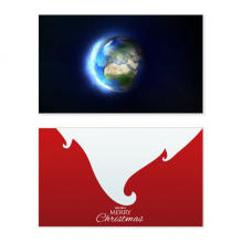 Blue White Planet Earth Holiday Merry Christmas Card Xmas Vintage Message