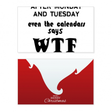 English Word Design Monday Tuesday WTF Holiday Merry Christmas Card Xmas Vintage Message