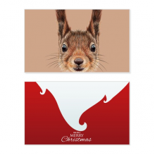 Little Brown Long Ears Squirrel Animal Holiday Merry Christmas Card Xmas Vintage Message