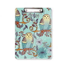 Blue Flower Owl Protect Animal Pet Lover Clipboard Folder Writing Pad Backing Plate A4